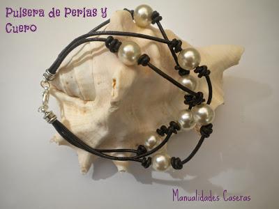 manualidades caseras faciles pulsera de perlas y cuero marrón