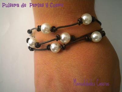 manualidades caseras Inma pulsera de perlas y cuero de tres hilos, marrón