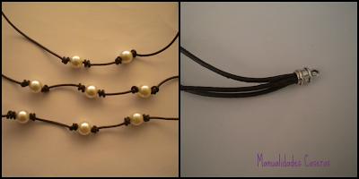 manualidades caseras Inma como realizar pulsera de perlas y cuero
