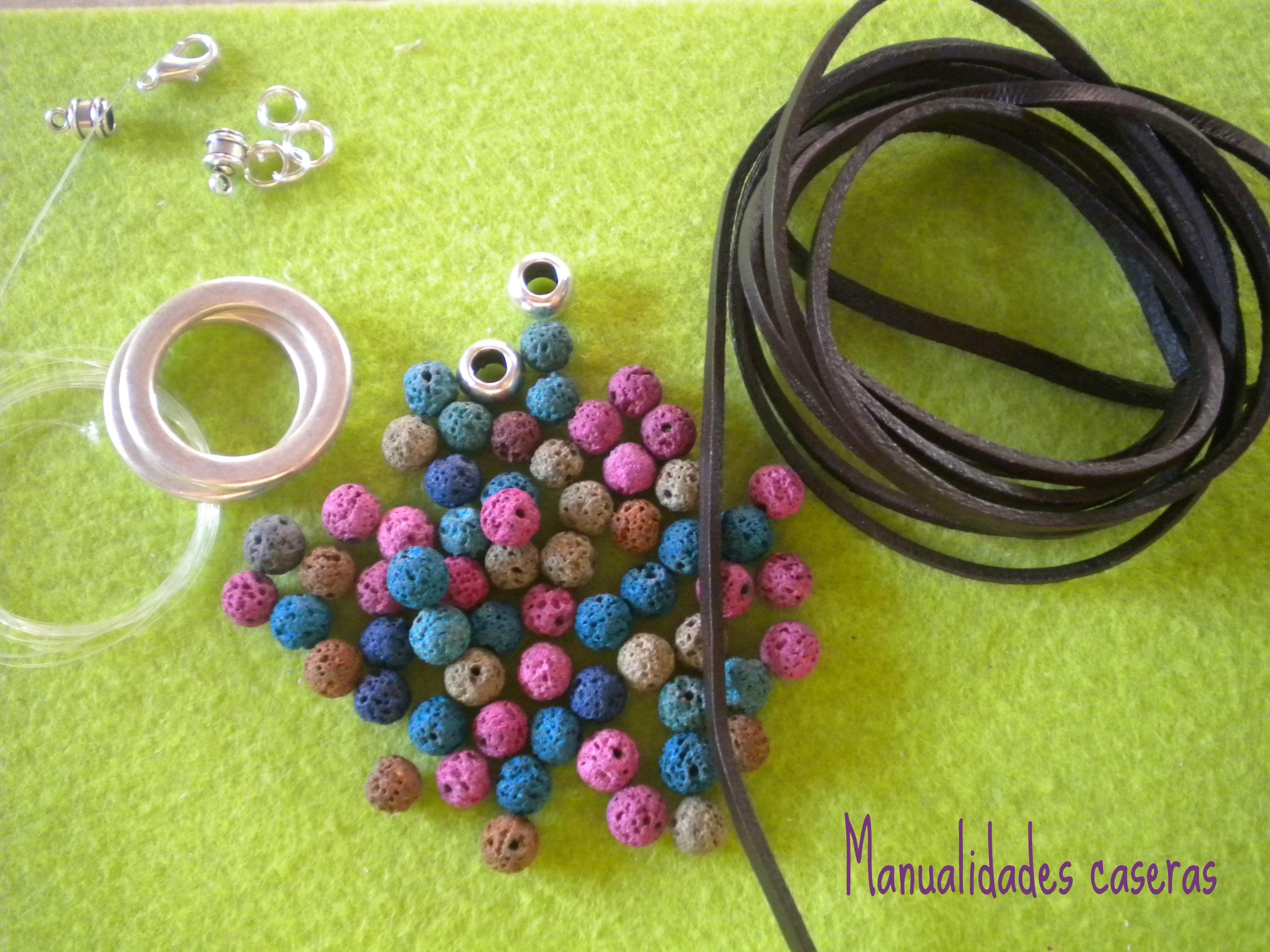 Manualidades Caseras Inma_ Conjunto de cuero y piedra volcanica_ Cosas que necesitas para hacer el collar