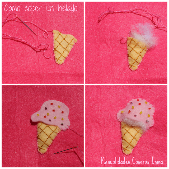 Manualidades Caseras Faciles Inma como coser el helado Monederos de helados rosa y azul