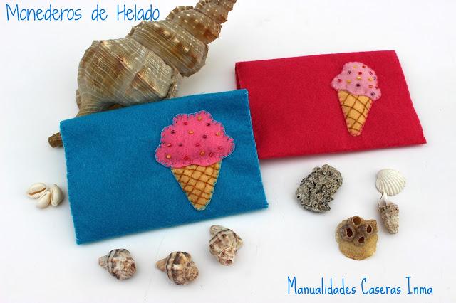 Manualidades Caseras Faciles Inma Monederos de helados rosa y azul