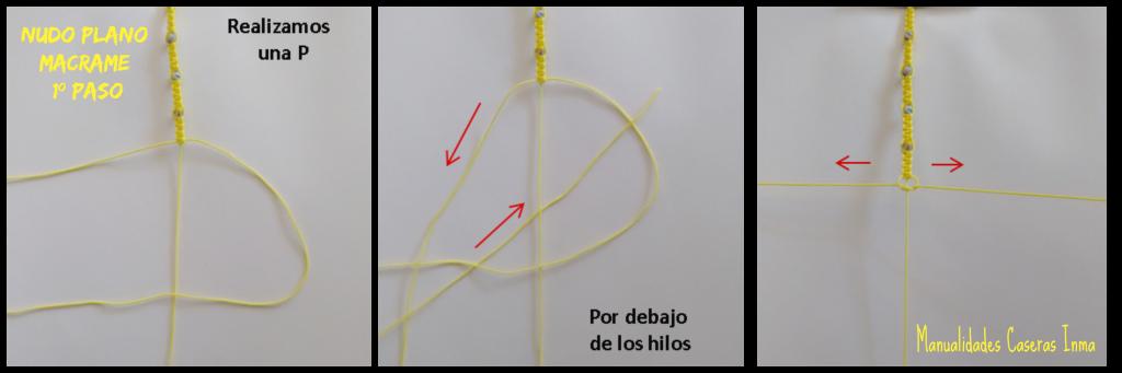 Manualidades caseras Inma como hacer el 1º paso nudo plano macramé para Tobillera macramé con bolitas