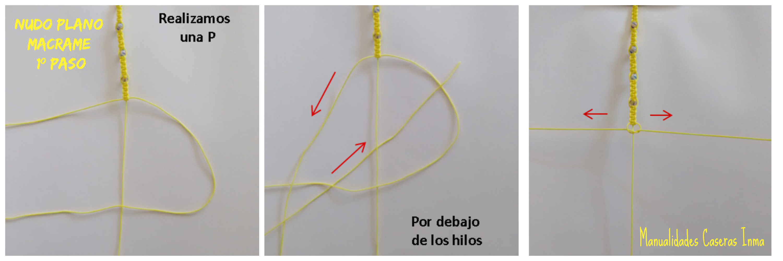 Manualidades caseras Inma _como hacer el 1º paso nudo plano macramé para Tobillera macramé con bolitas