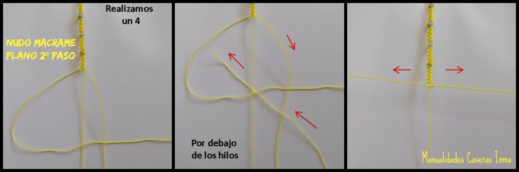 Manualidades caseras Inma como hacer el 2º paso nudo plano macramé para Tobillera macramé con bolitas