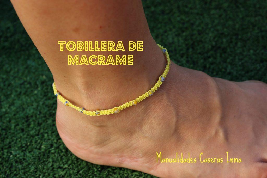Manualidades caseras Inma _Tobillera macramé amarilla con bolitas