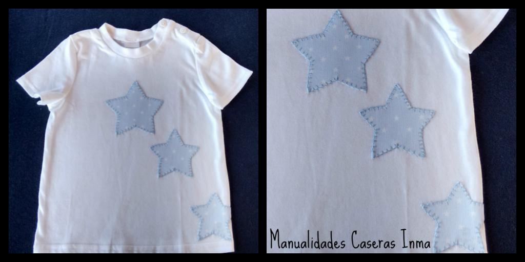 Manualidades Caseras Inma camiseta para bebé blanca con estrellas