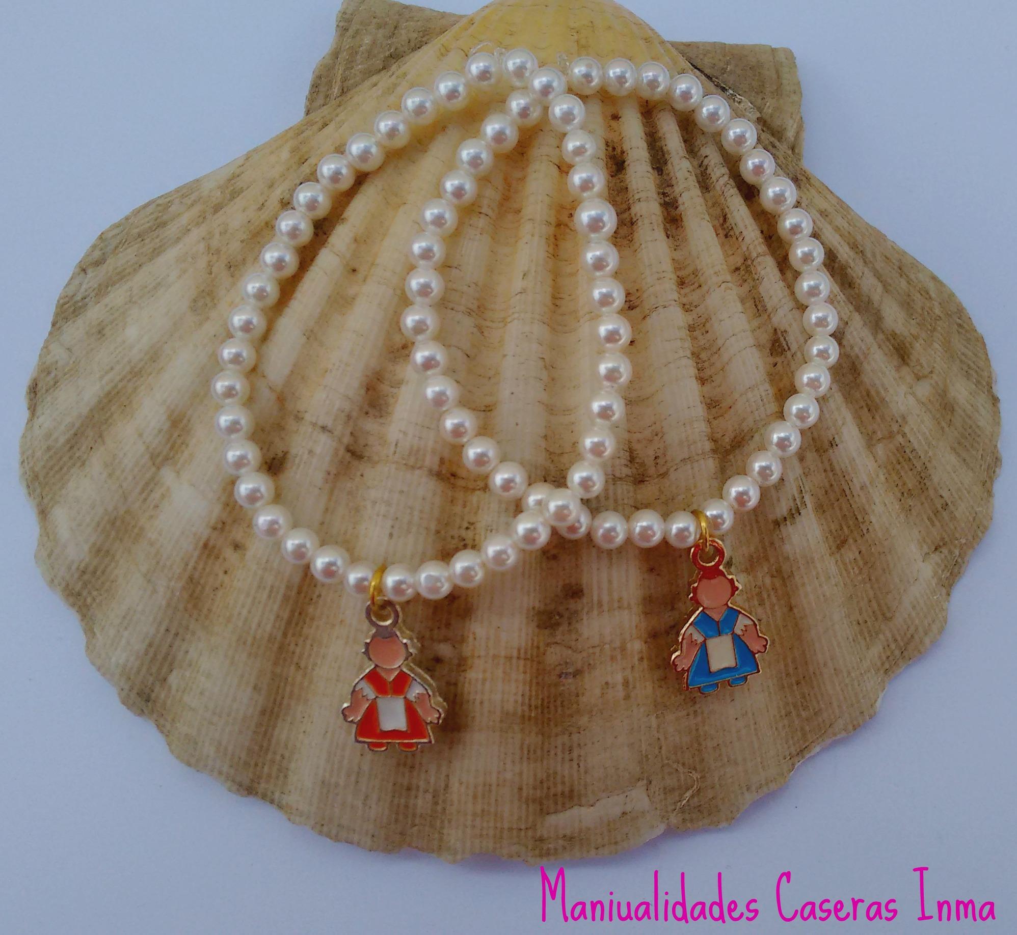 Manualidades Caseras Inma_ Pulsera de perlas con falleras