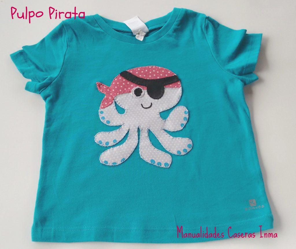Manualidades Caseras Inma detalle camiseta niño Pulpo Pirata