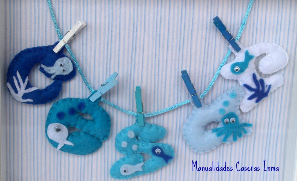 Manualidades Caseras Inma_ Cuadro de nombre con animales marinos para cuarto de niño