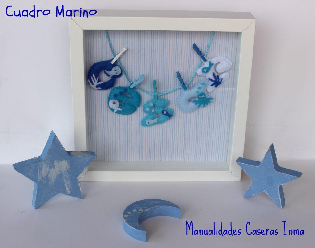 Manualidades Caseras Inma_ Cuadro de nombre con animales marinos