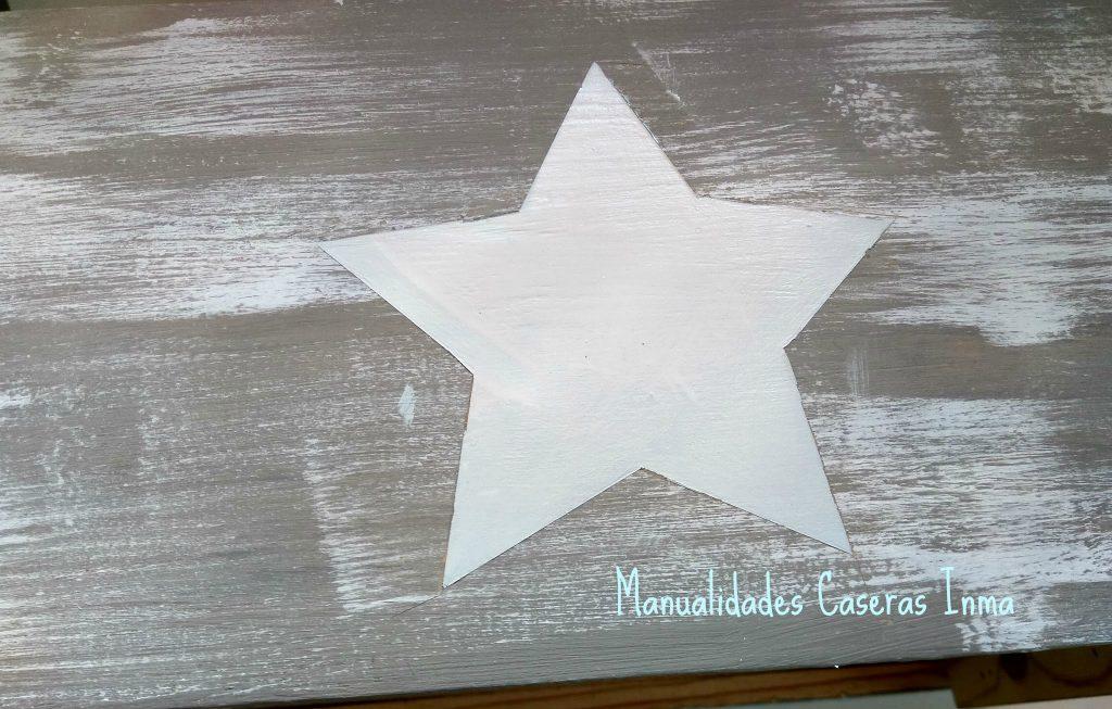 Manualidades Caseras Inma Caja de madera con estrella Chalk Paint detalle de la estrella