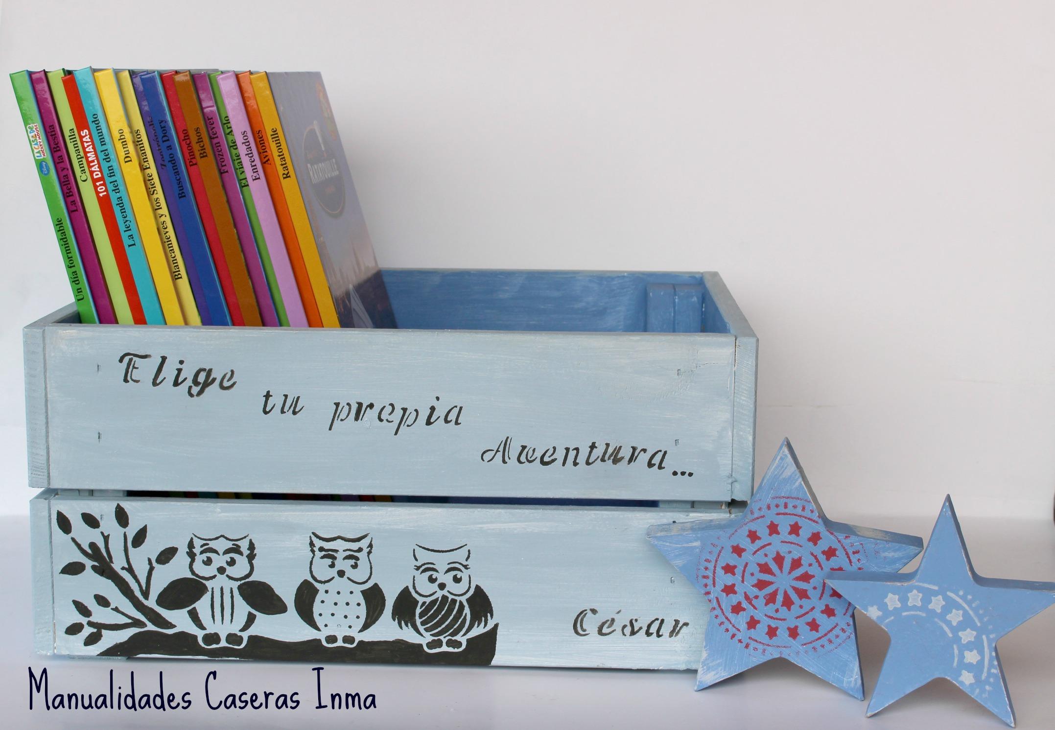 Manualidades Caseras Inma _Caja de madera para cuentos