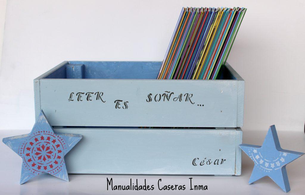Manualidades Caseras Inma _Caja de madera para cuentos pintada con chalk paint y decorado con stencils