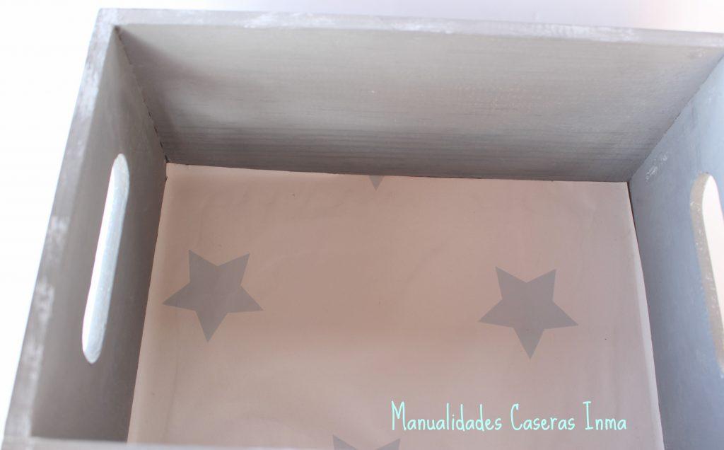 Manualidades Caseras Inma Caja de madera con estrella Chalk Paint papel pintado
