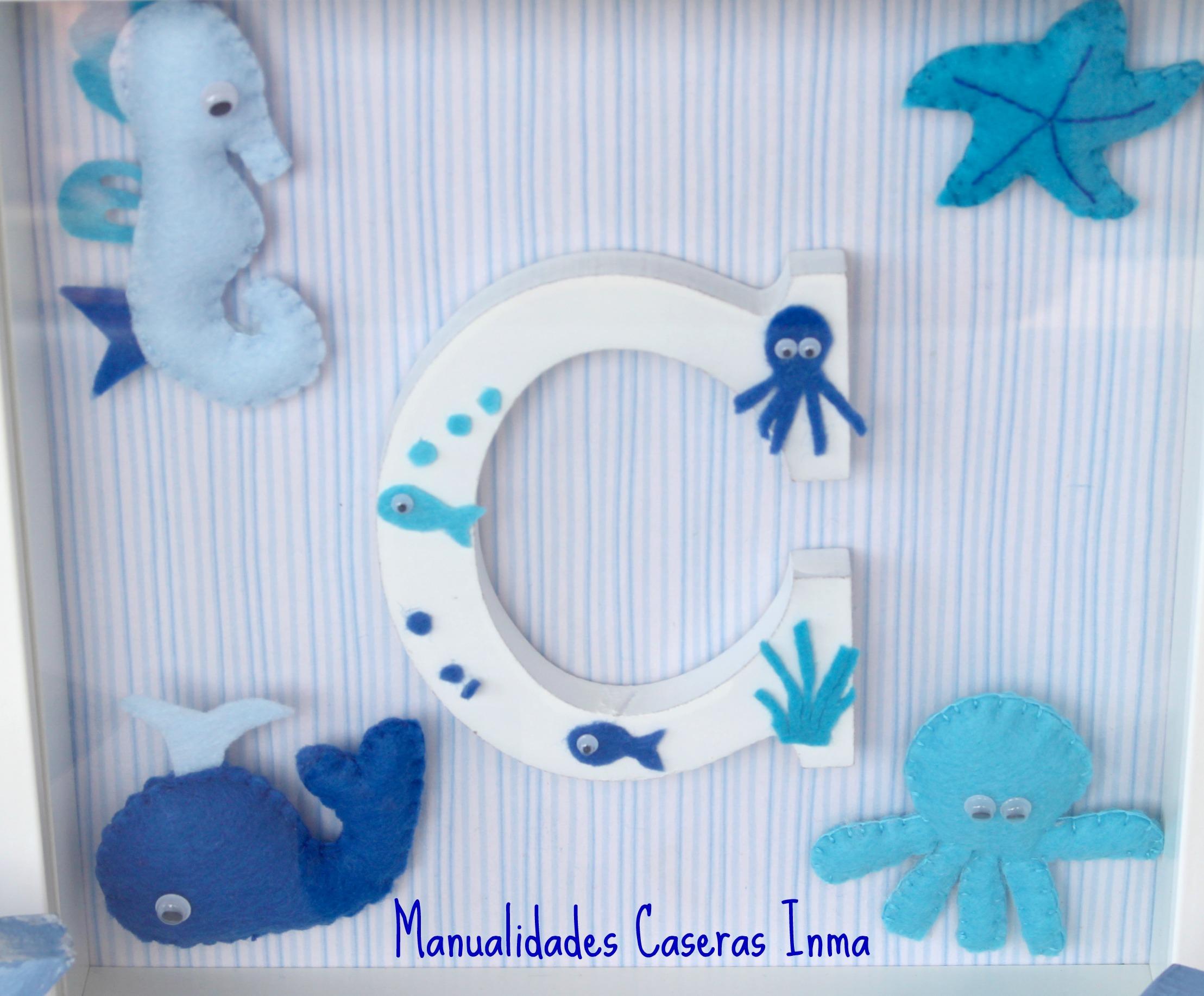 Manualidades Caseras Inma_ Detalle de cuadro de animales marinos e inicial