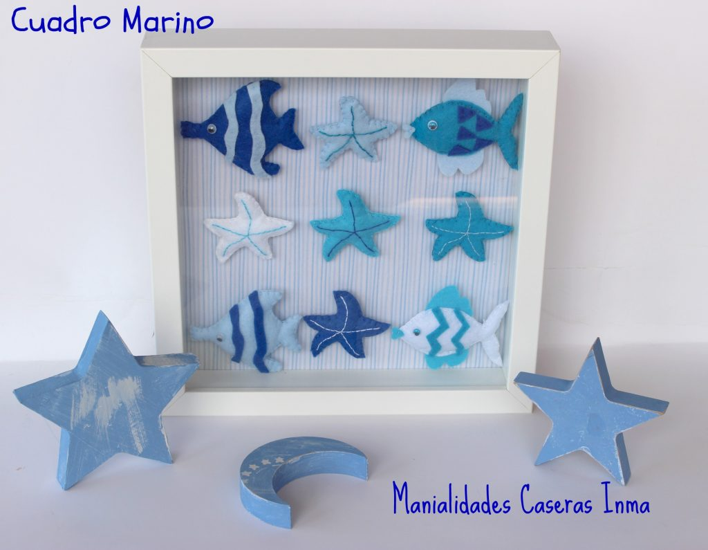Manualidades Caseras Inma_ Cuadro de animales marinos para cuarto de niño