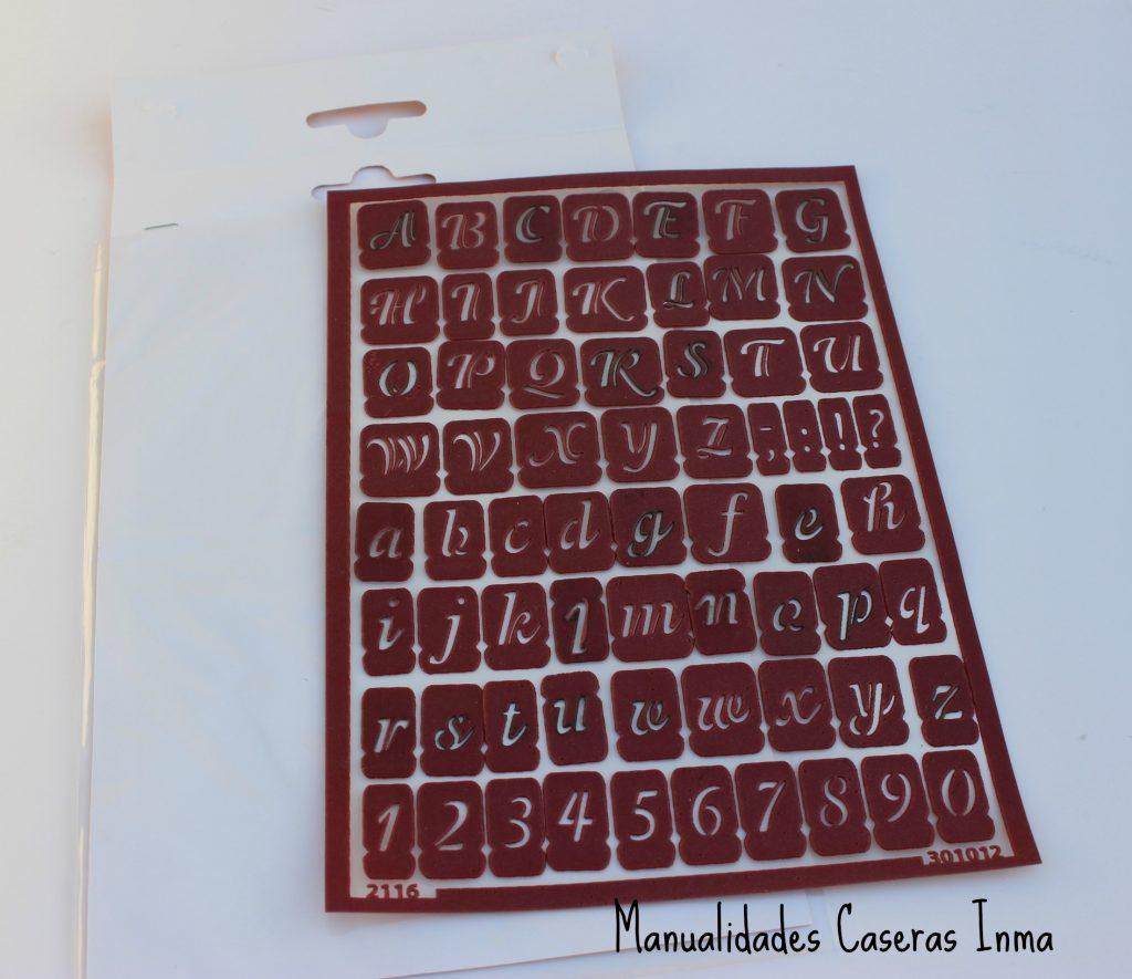 Manualidades Caseras Inma _Caja de madera_Stencil de letras