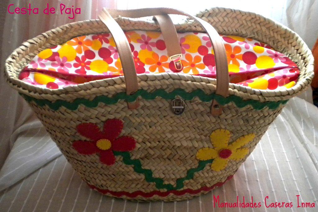 Manualidades Caseras Inma_Cesta de palma decorado con flores