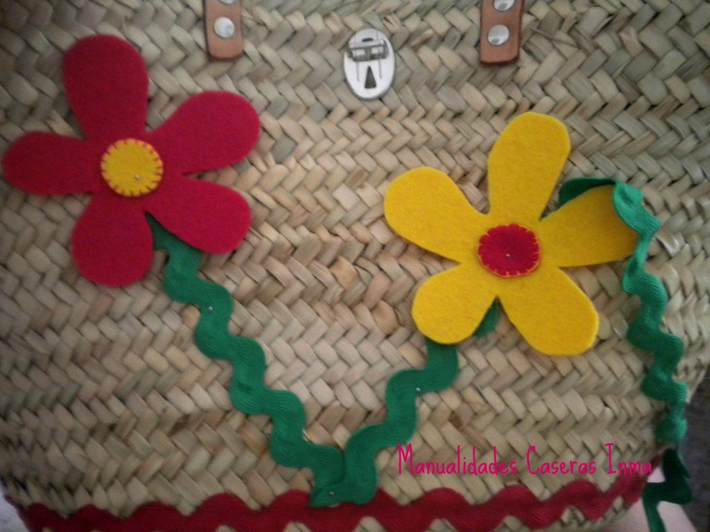 Manualidades Caseras Inma_ Cesta de palma_ como coser las flores