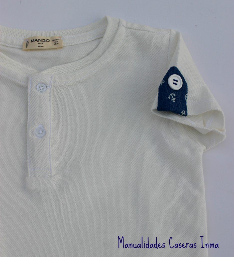 Manualidades Caseras Inma_ Conjunto marinero anclas detalle de las presillas de la camiseta