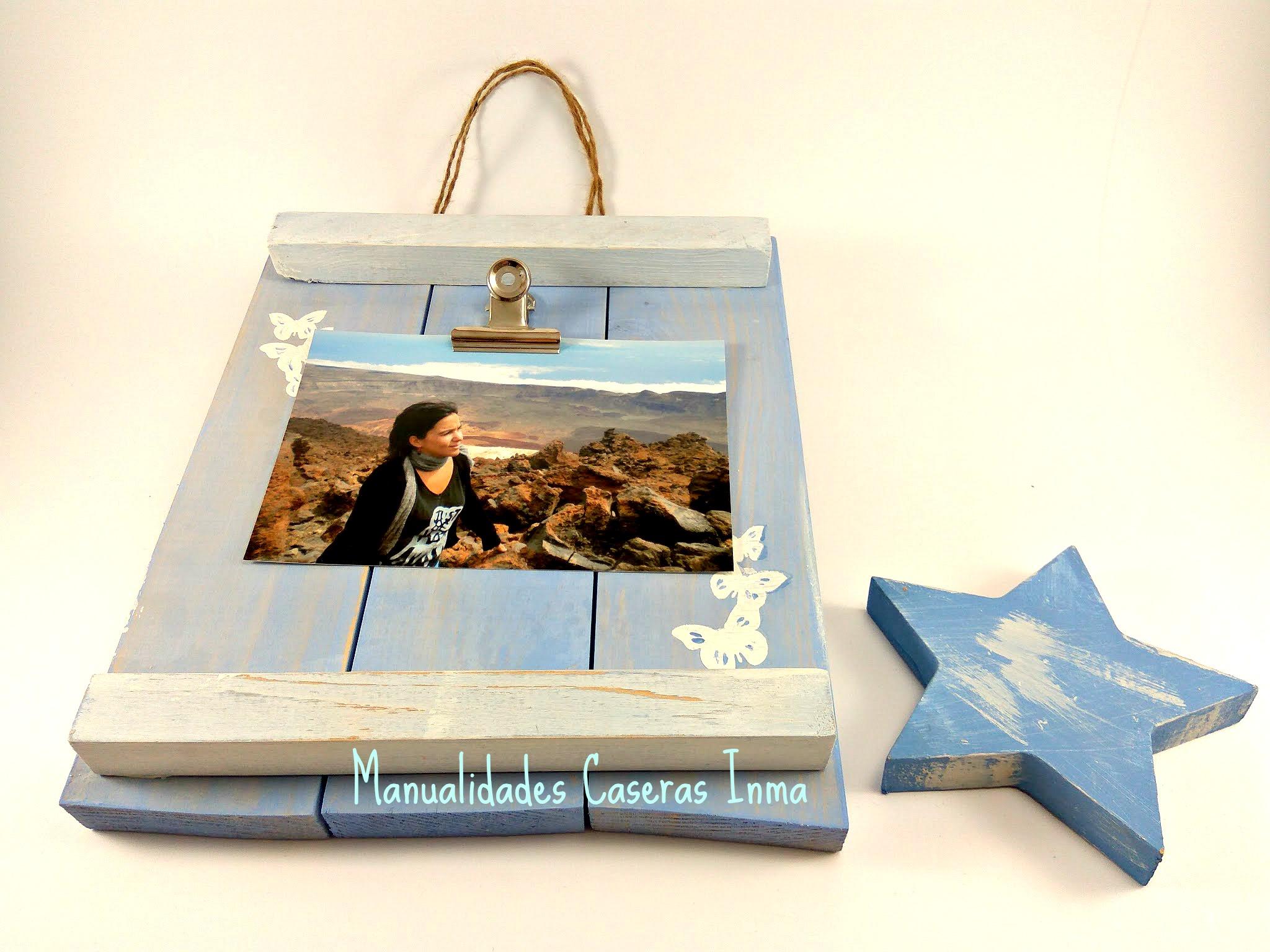 Manualidades Caseras Inma _Portarretratos decorado con mariposas_terminado con foto