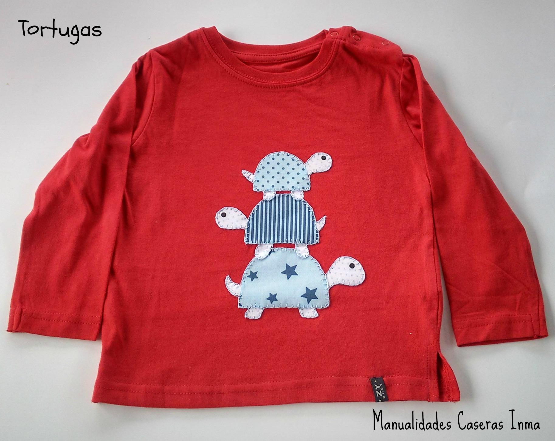 Manualidades Caseras Inma_ camiseta tortugas en tonos azules