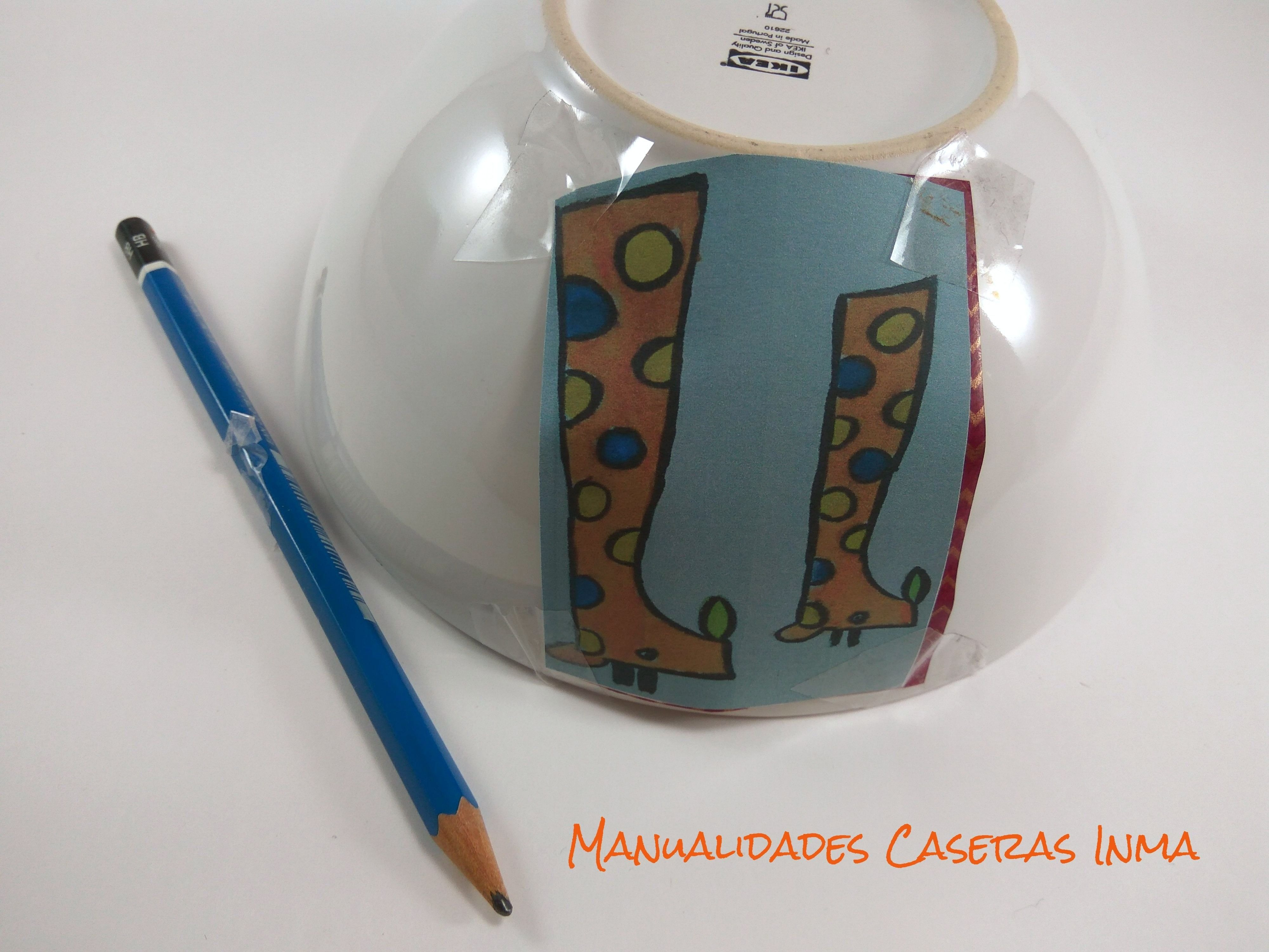 Manualidades Caseras Inma_ Como calcar el boceto en el tazón
