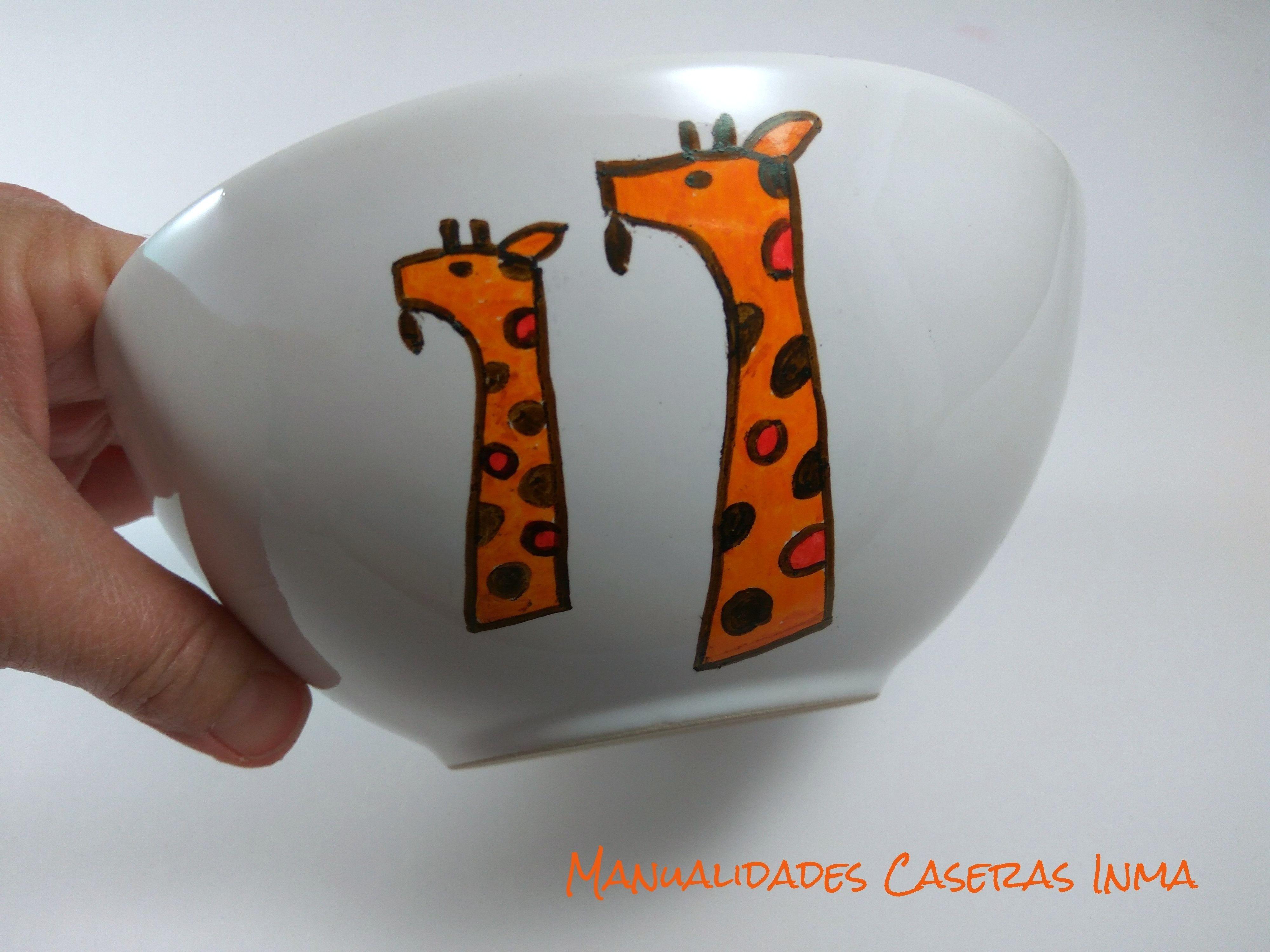 Manualidades Caseras Inma_ Tazón de jirafas después del horno