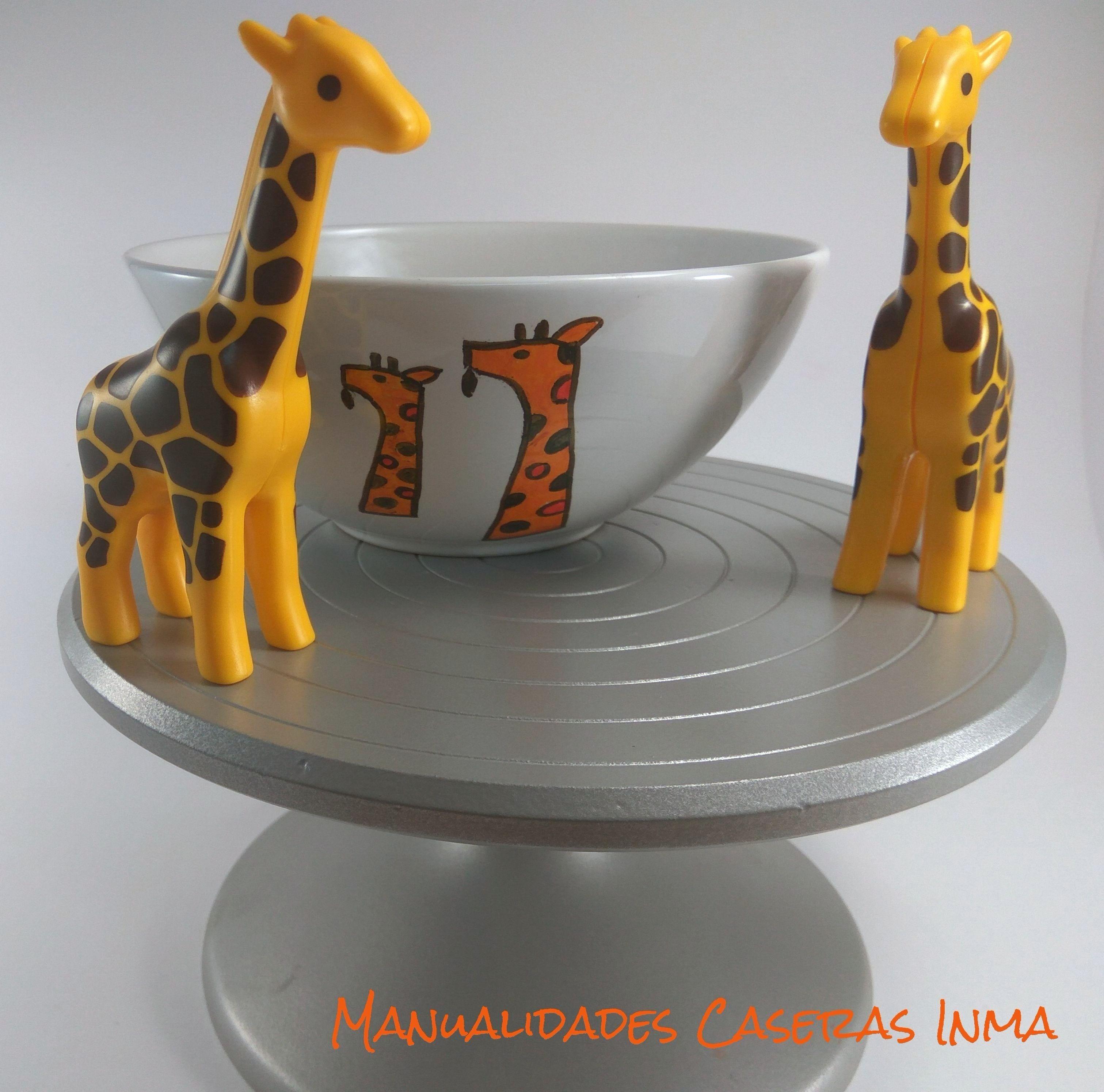 Manualidades Caseras Inma_ Tazón de jirafas