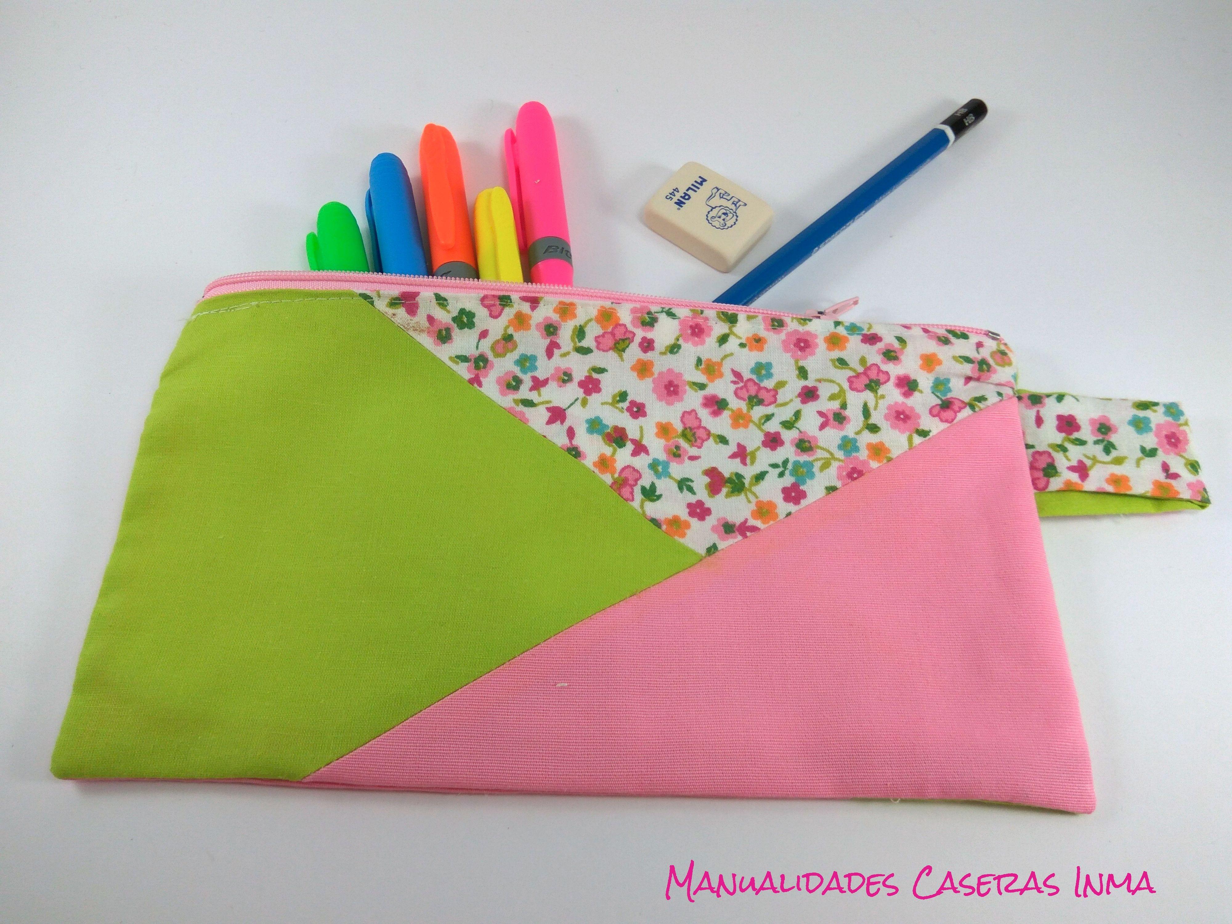 Manualidades Caseras Inma_ Estuche escolar hecho de retales verde, rosa y flores