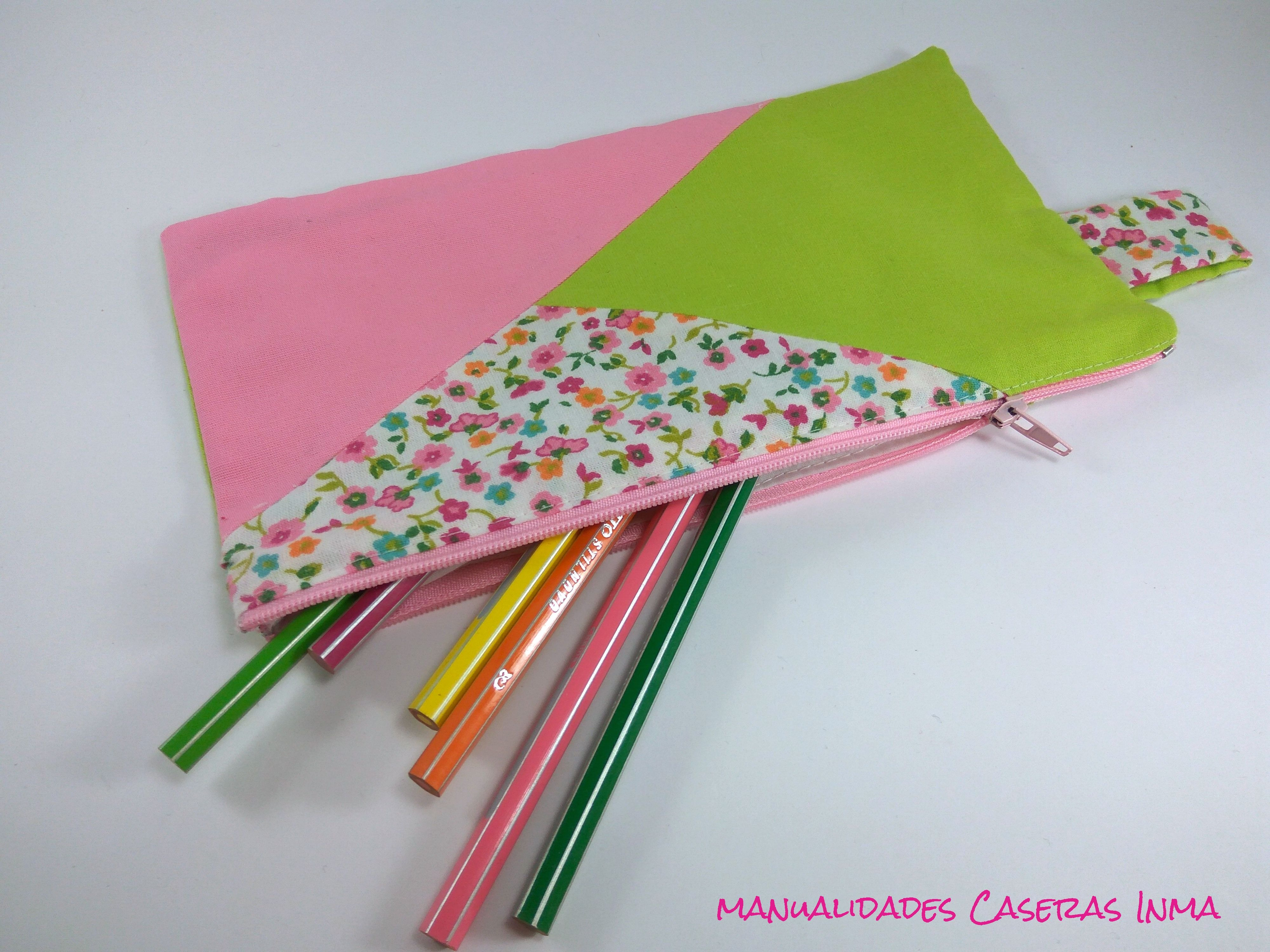 Manualidades Caseras Inma_ Estuche escolar hecho te telas verde, rosa y flores