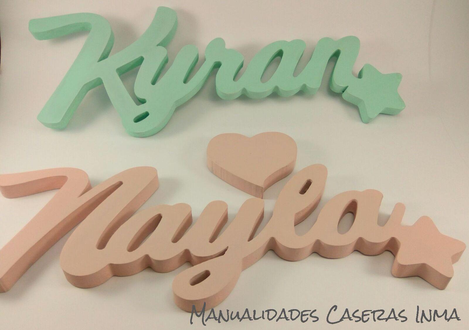 Manualidades Caseras Inma_ Nombres de madera Kyran y Nayla