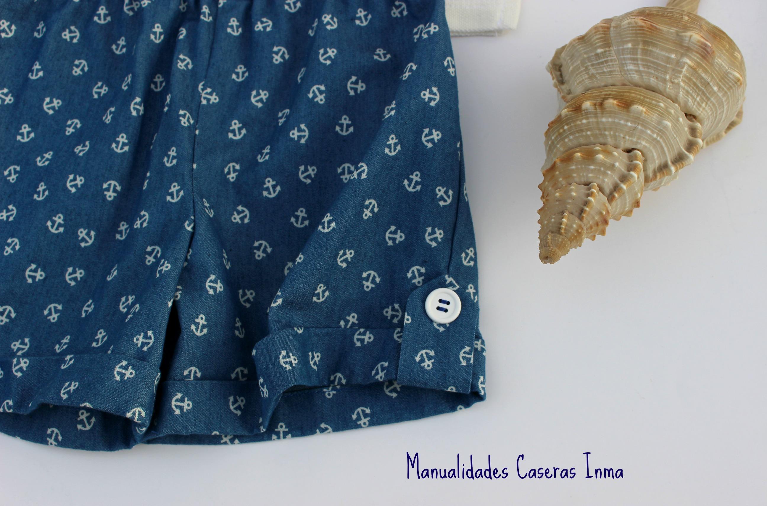 Manualidades Caseras Inma_ Conjunto marinero anclas detalle presilla pantalon
