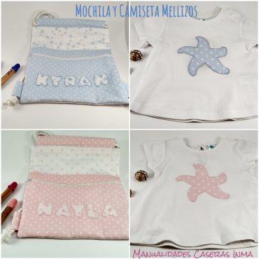 Mochila y camiseta mellizos