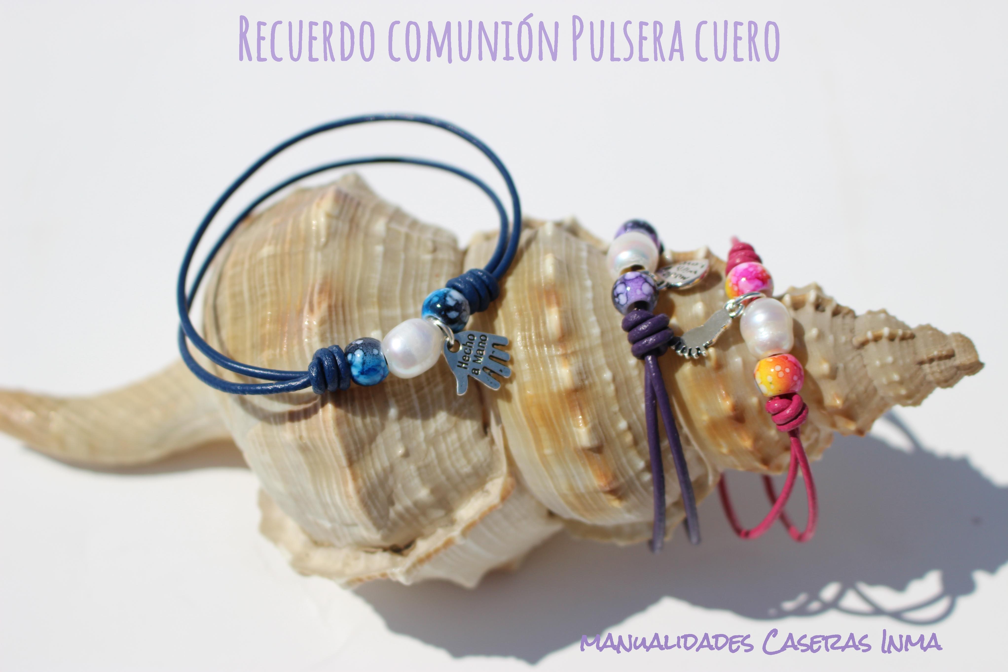 Manualidades Caseras Inma_Recuerdo de comunión _Pulseras cuero de colores