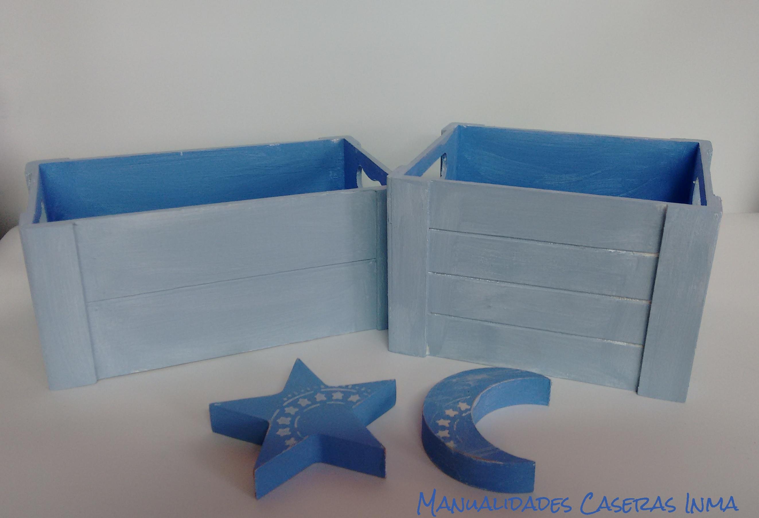 Manualidades Caseras Inma_ cajas para chuches y regalos pintadas en dos tonos de azules