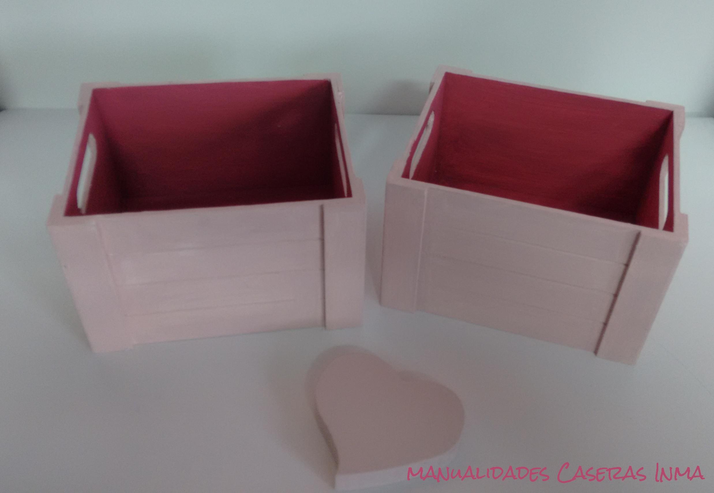 Manualidades Caseras Inma_ cajas para chuches y regalos pintadas en dos tonos de rosa