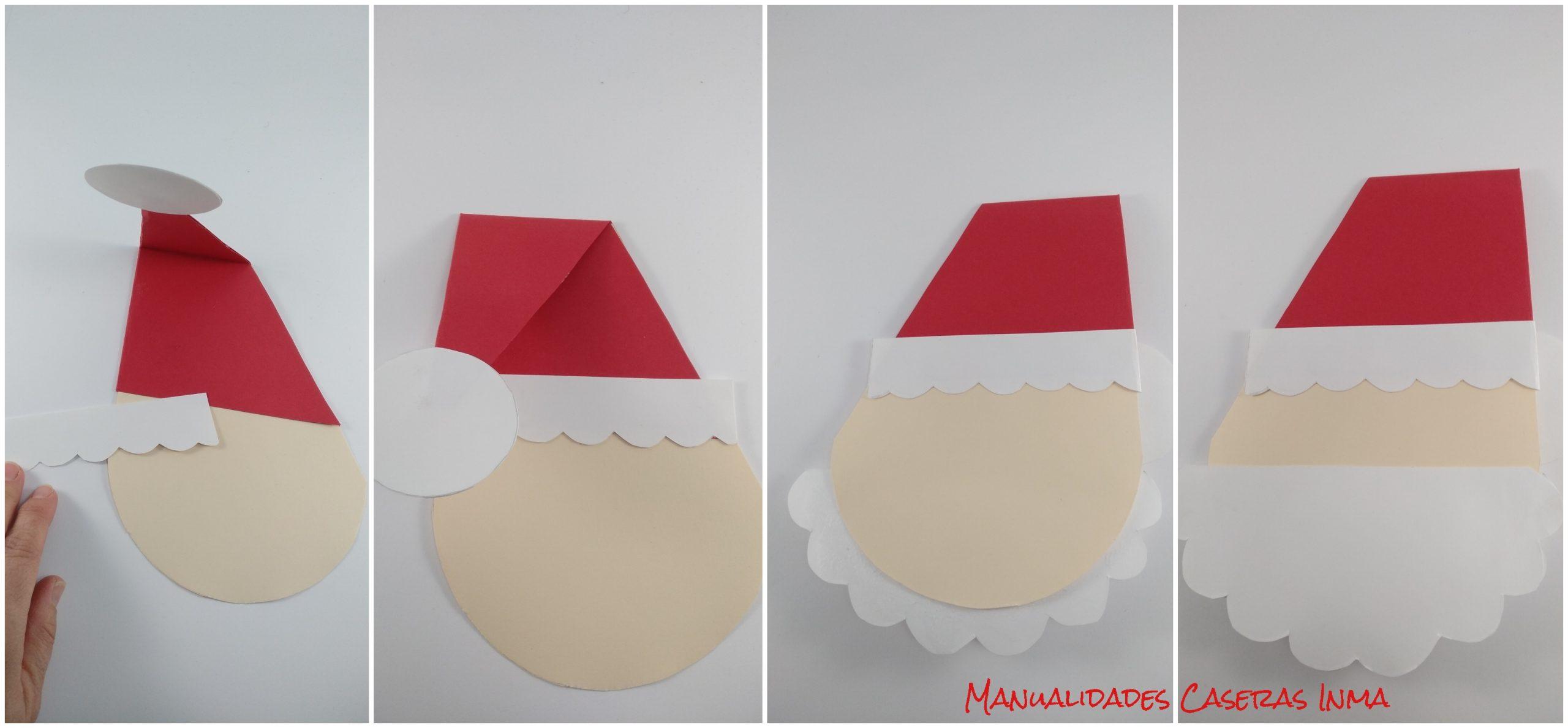 Manualidades Caseras Inma_ Tutorial de como pegar  la tarjeta Papa Noel