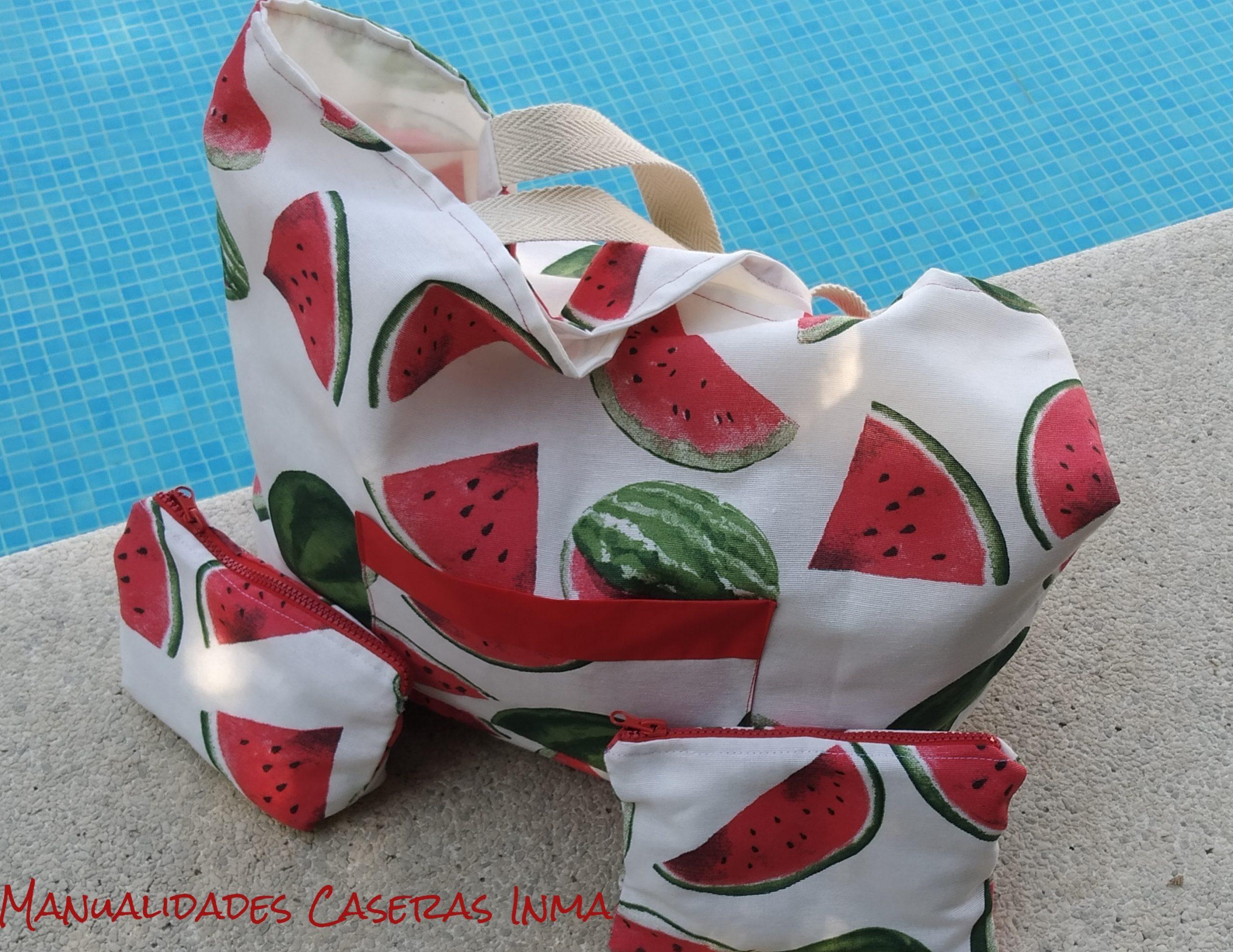 Manualidades Caseras Inma_Bolsa y neceseres sandia para piscina