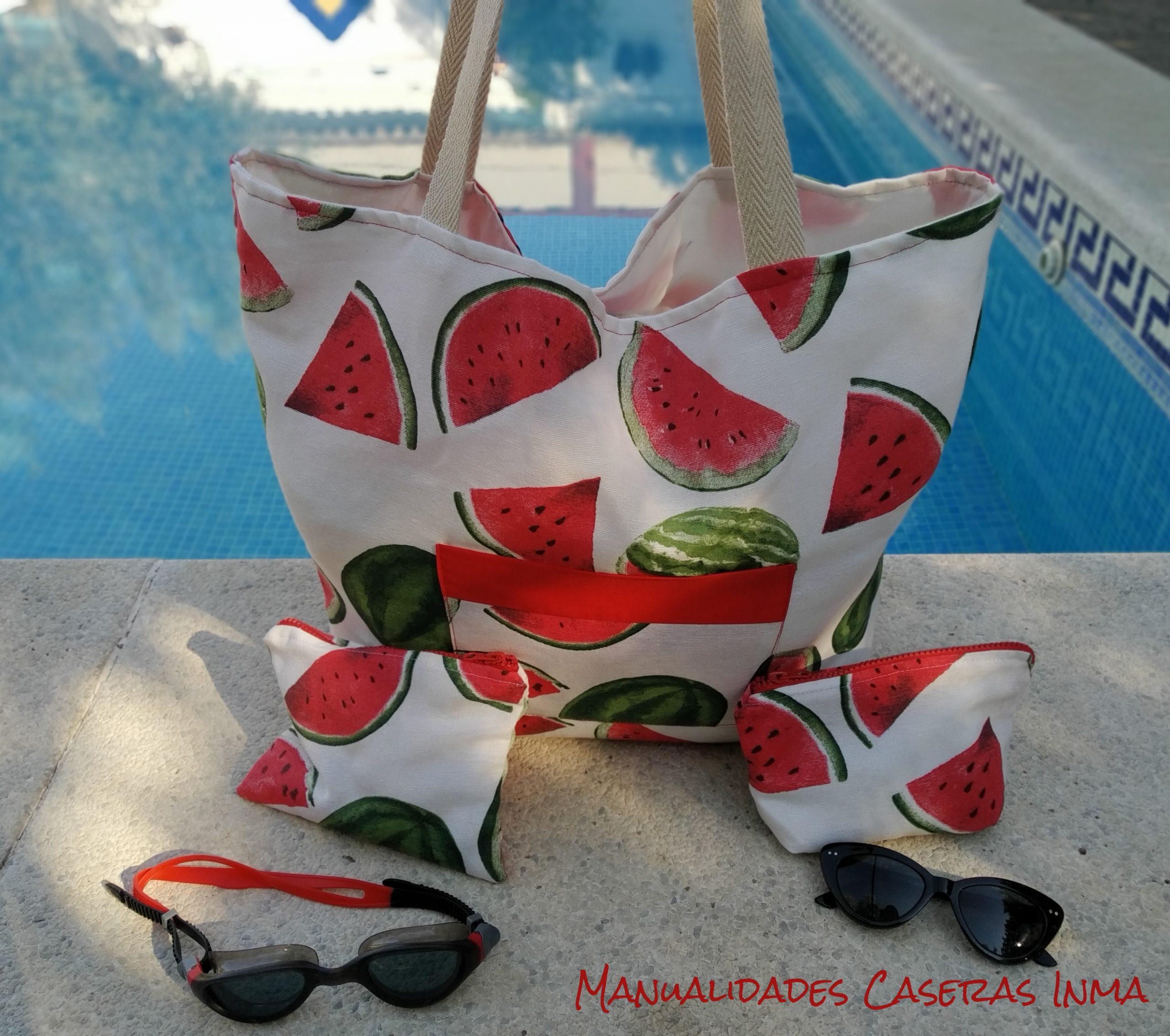 Manualidades Caseras Inma_Bolsa de playa y neceser sandia