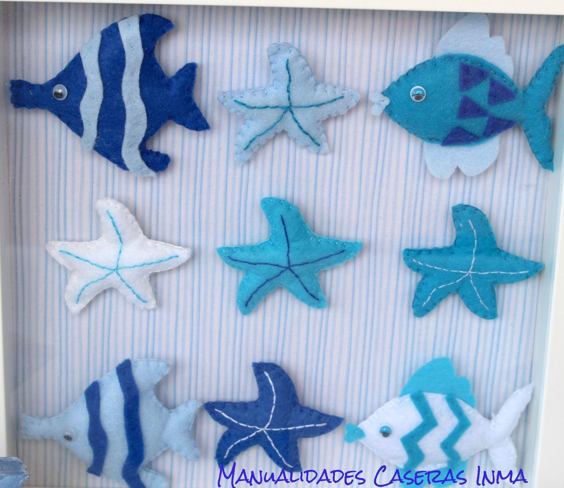 Manualidades Caseras Inma_ Detalle de cuadro con animales marinos