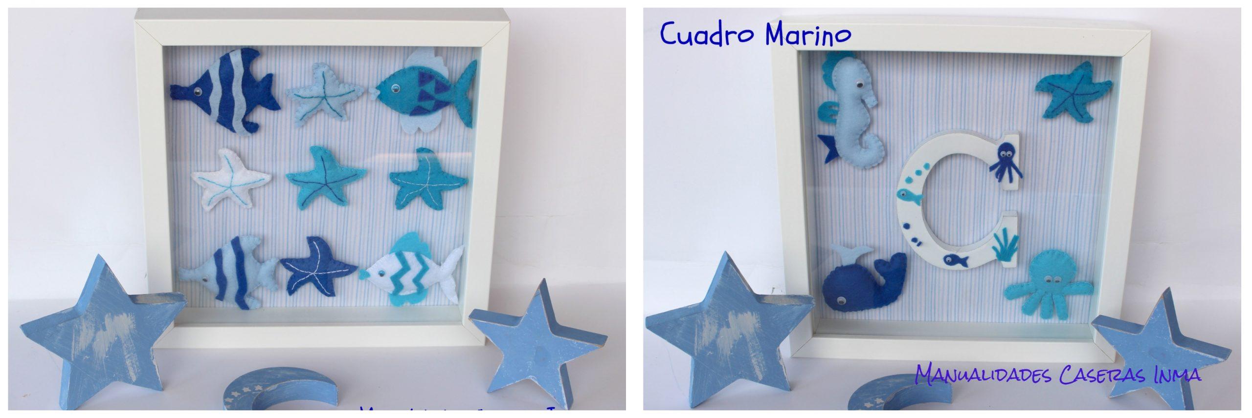 Manualidades Caseras Inma_ Cuadros de animales marinos con fieltro