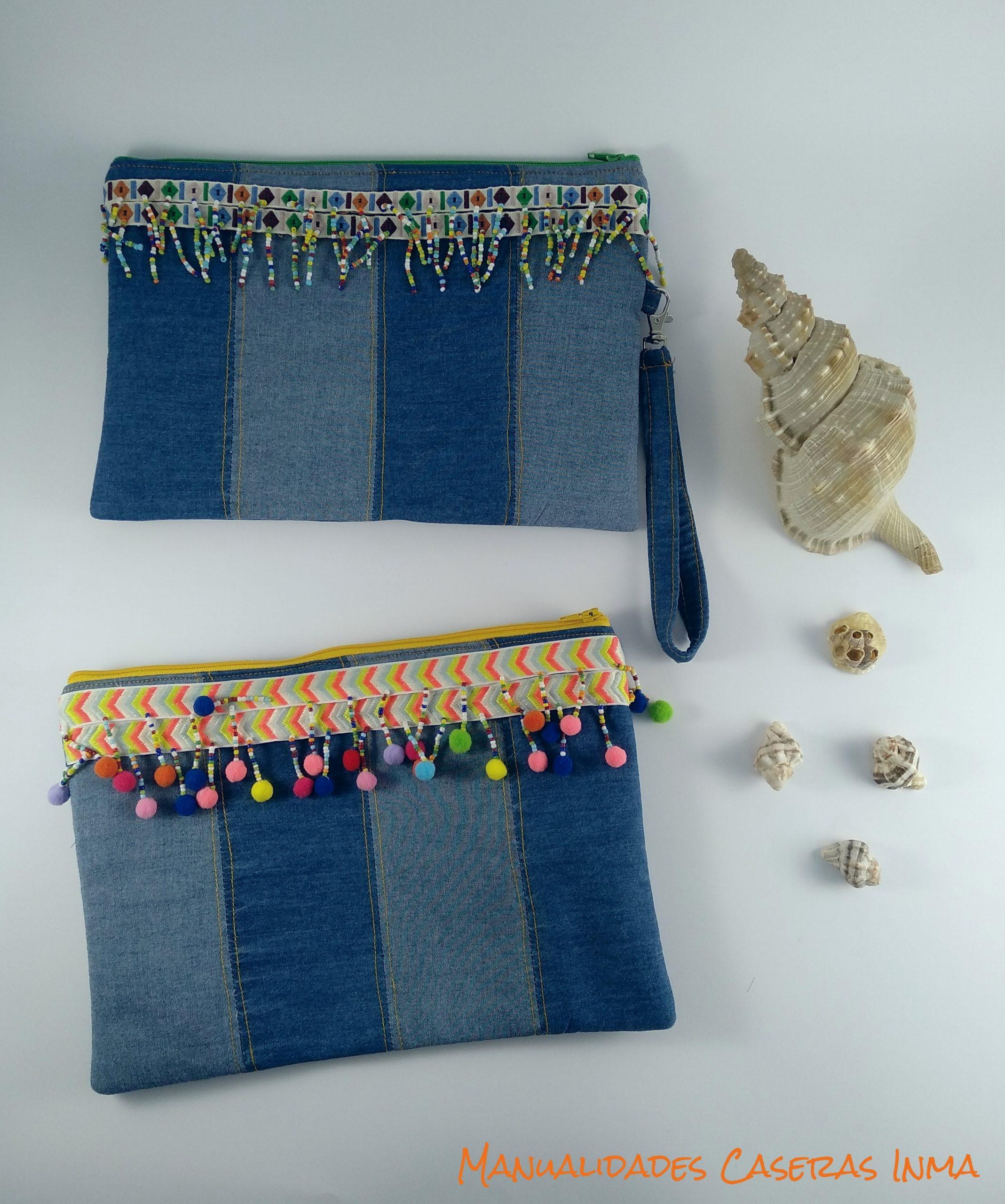 Manualidades Caseras Inma_ Bolso vaquero de mano con abalorios y borlas